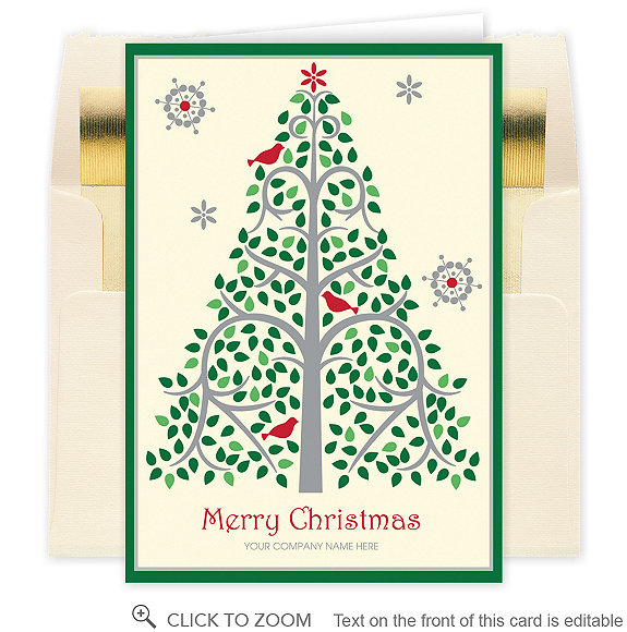 Floral Tree Christmas Card - Business Christmas Cards