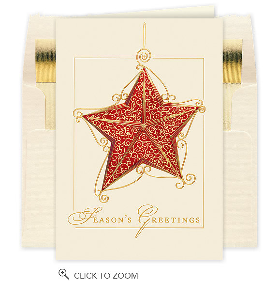 Season's Greetings Scrollwork Star Card - Company Christmas Cards
