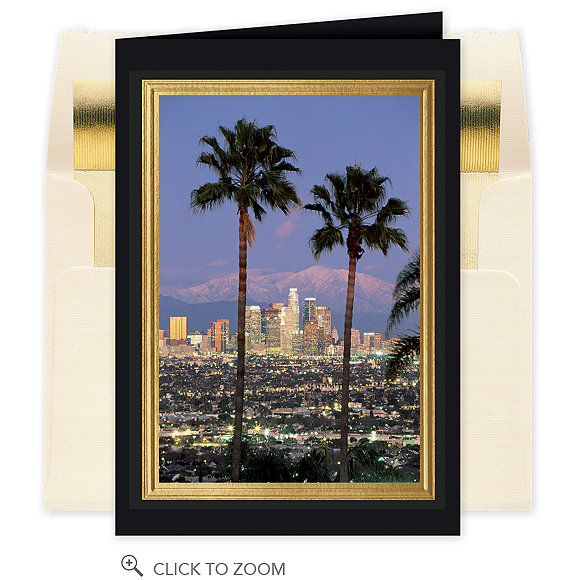 Los Angeles Skyline Christmas Card - Business Greeting Cards
