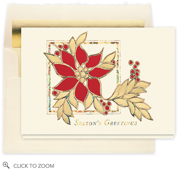 Stained glass poinsettia holiday card cx business