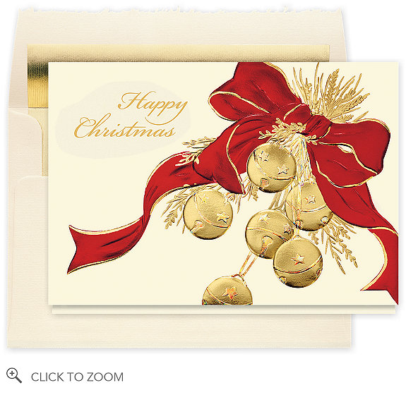 Happy Christmas Sleigh Bells Card - Business Christmas Cards