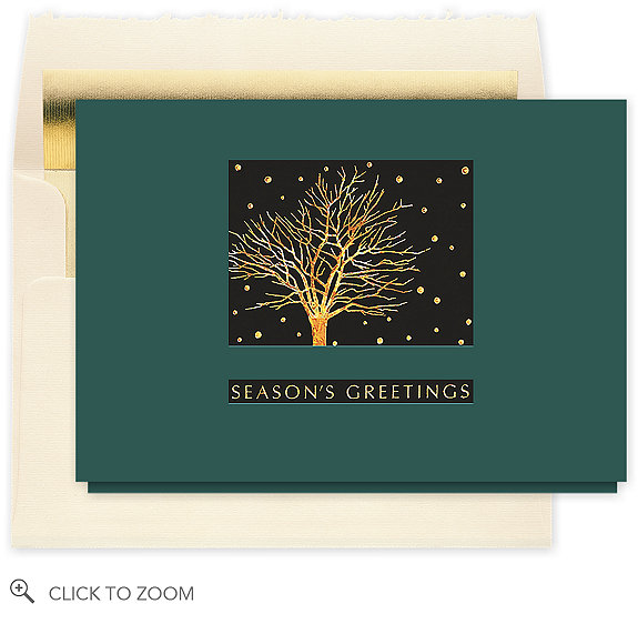 Glistening Silhouette Christmas Card - Corporate Holiday Cards