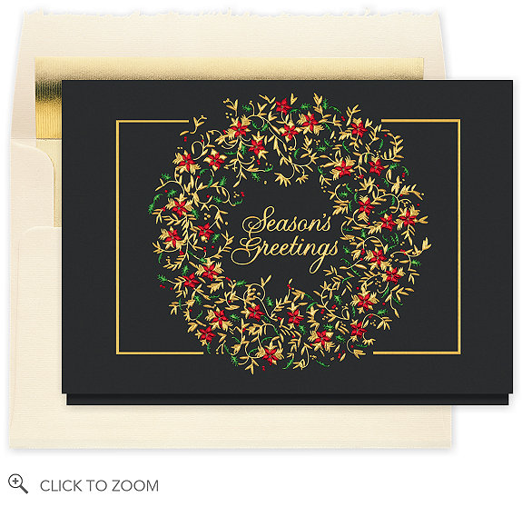 Brilliant Season's Greetings Wreath Card