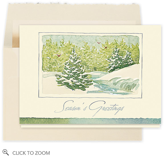 Snow Frost Pines Season's Greeting Card - Business Christmas Cards