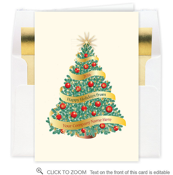 Golden Garland Holiday Tree Christmas Card - Business Christmas Cards