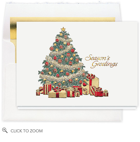 Garland Tree Christmas Card - Business Christmas Cards