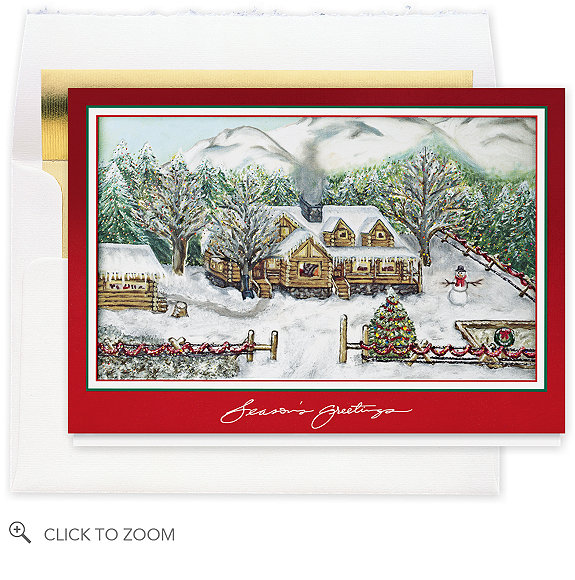 Log Cabin Greetings Holiday Card