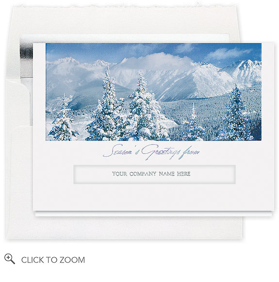 Snow Covered Mountains Greeting Card - Corporate Christmas Cards