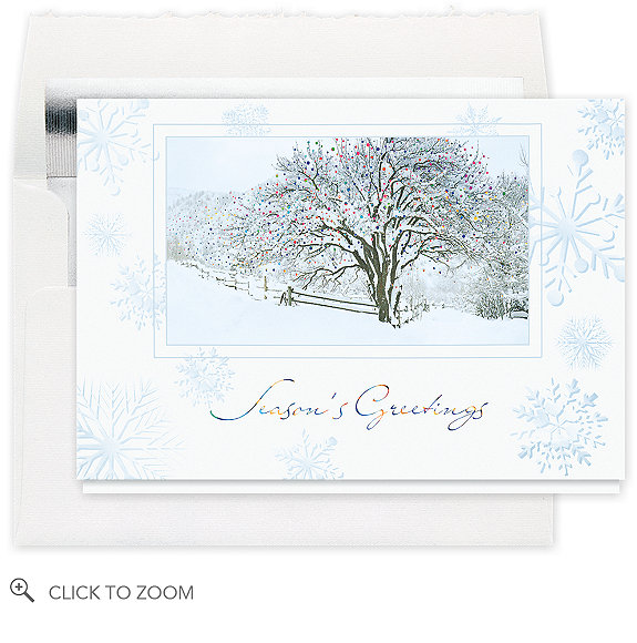 Snow-Covered Tree Holiday Card - Business Christmas Cards