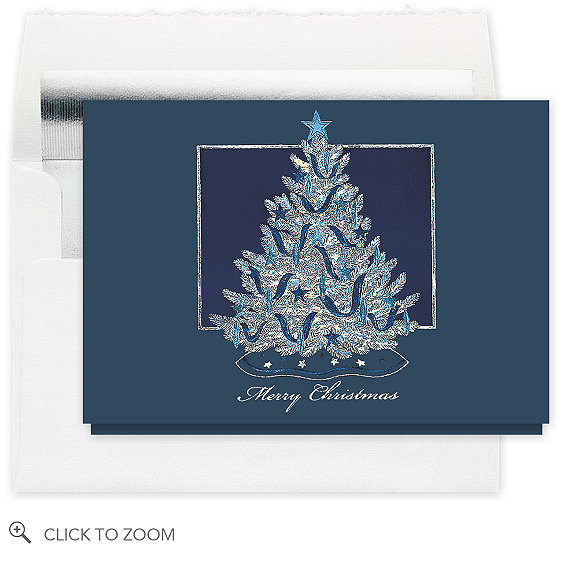 Shimmering Tree Merry Christmas Card - Business Christmas Cards