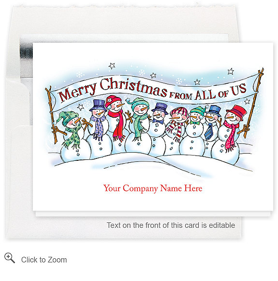 Merry Christmas Snow People Holiday Card - Business Christmas Cards