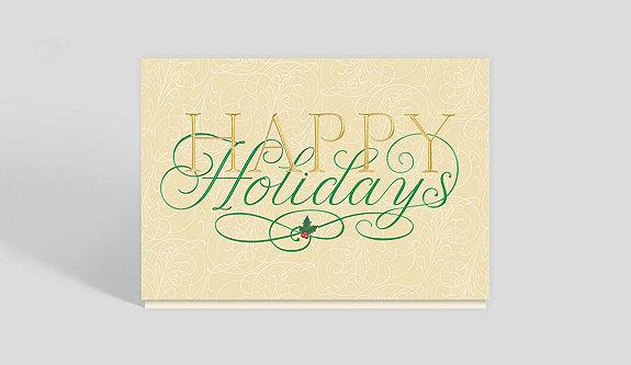 Gilded Holly Season's Greetings Card