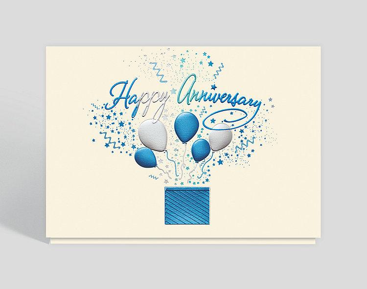 Bursting anniversary wishes card  business