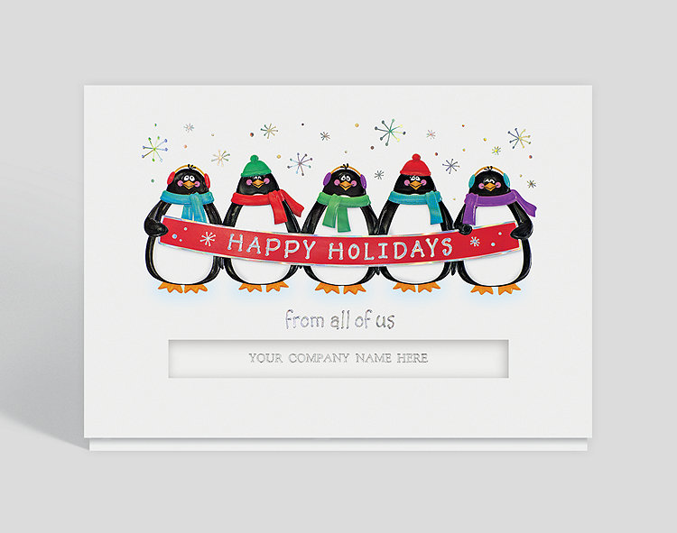 Penguin banner holiday card 300077 business christmas cards for Penguin christmas cards homemade