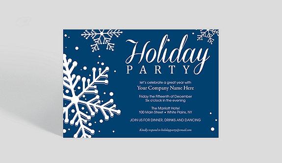 Blue Snowflake Dazzle Holiday Party Invitation