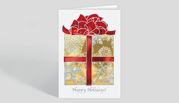 Golden Holiday Bow Holiday Card