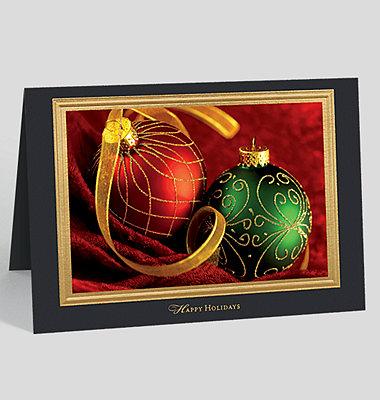 Gold Border on Cream Happy Holidays Card