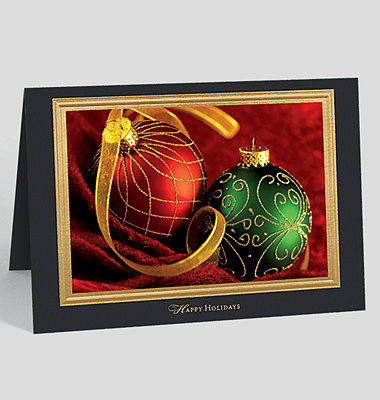 "Gold Border on Black ""Happy Holidays"" Custom Photo Mount Card - Horizontal"