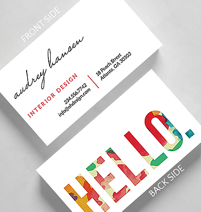 floral hello business card standard size