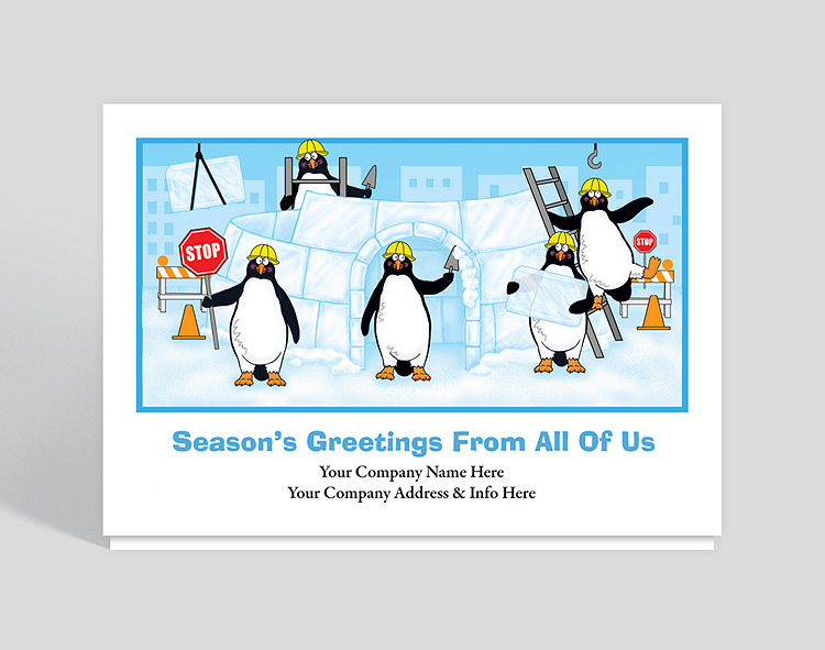 Construction penguins holiday card 1023515 business for Penguin christmas cards homemade