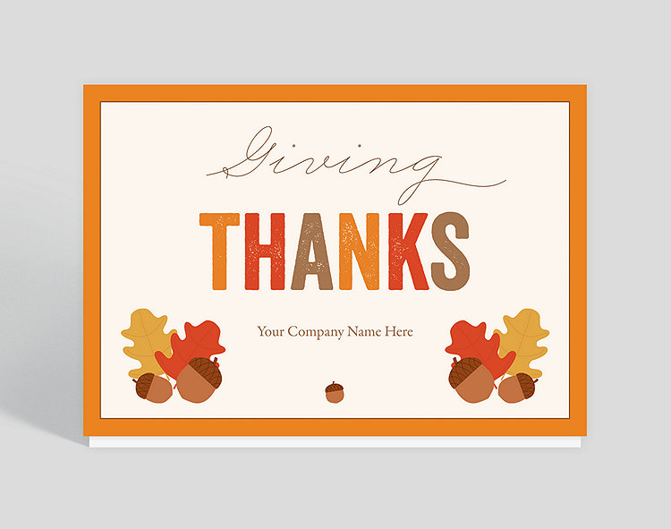 This a very contemporary card with beautiful bright fall colors for Thanksgiving. You may personalize the front of this card also with your family or company name. This card shows your good taste to whomever receives it