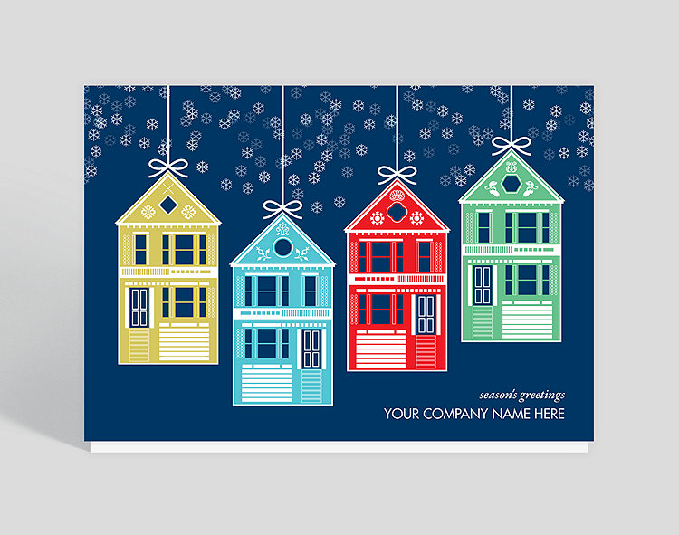 House ornaments christmas card 1023576 business christmas cards house ornaments christmas card click to view larger reheart Image collections