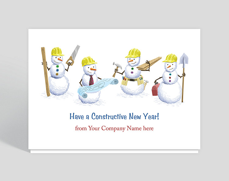 Construction Snowmen New Year\'s Card, 1023639 - Business Christmas Cards
