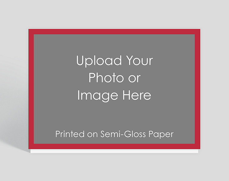 Full Bleed with Border Horizontal Red Semi-Gloss Photo Card - Photo Christmas Cards