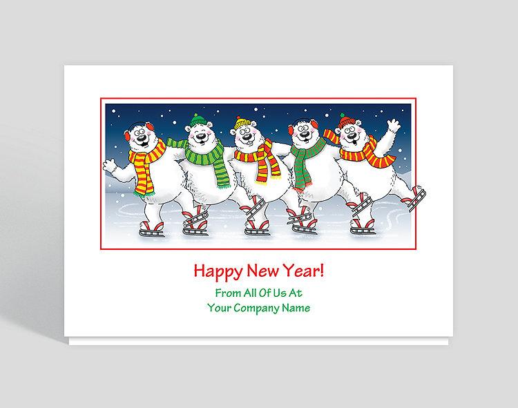 Polar Bears on Ice New Year's Card - Office Holiday Cards