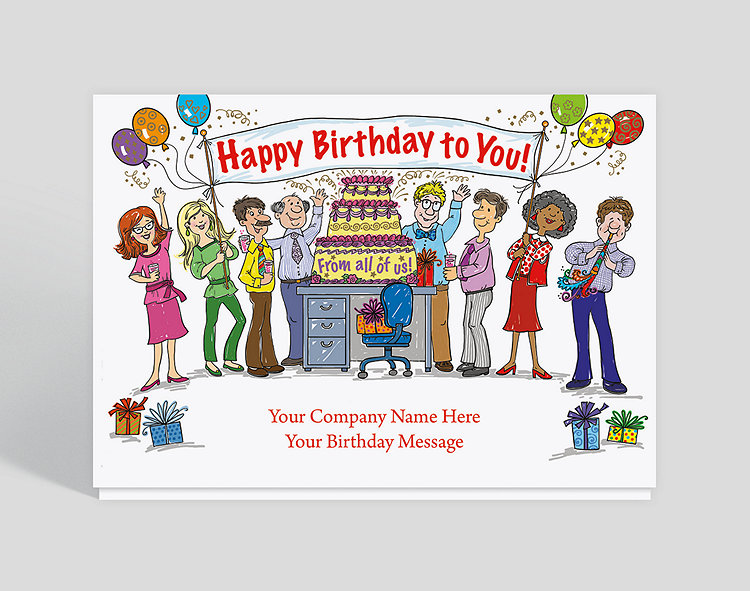Office Celebration Birthday Card Click To View Larger