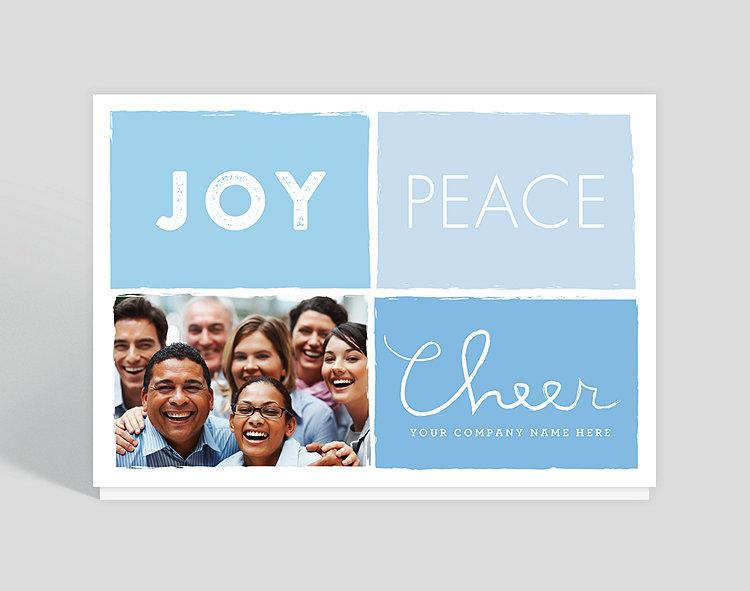 Joy Peace Cheer Holiday Card - Greeting Cards