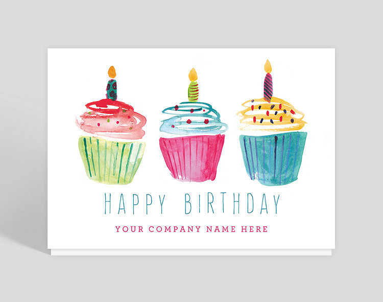 Business birthday cards the gallery collection watercolor cupcakes birthday card bookmarktalkfo Image collections