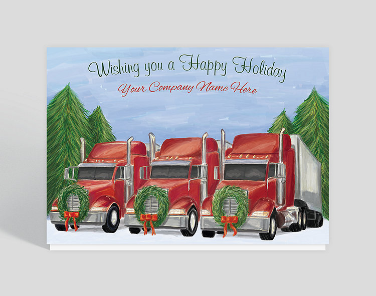 Truckloads of greetings of the season are clearly on the way, as evidenced by the hybrid scene on the front of this design, celebrating both the natural and the industrial. Add your company name above this festively adorned fleet, and your clients and colleagues will certainly receive your joyful wishes and feel your sincere warmth.