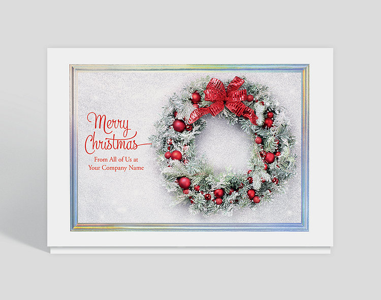 Frosty wreath christmas card 1027777 business christmas cards frosty wreath christmas card click to view larger reheart Choice Image