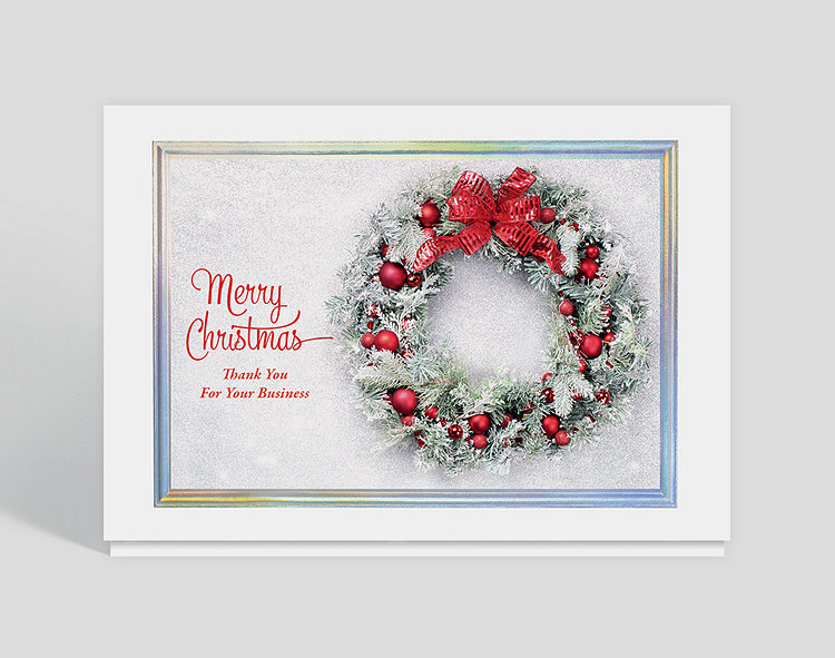 Wintry wreath christmas thank you card 1028040 business christmas wintry wreath christmas thank you card click to view larger colourmoves