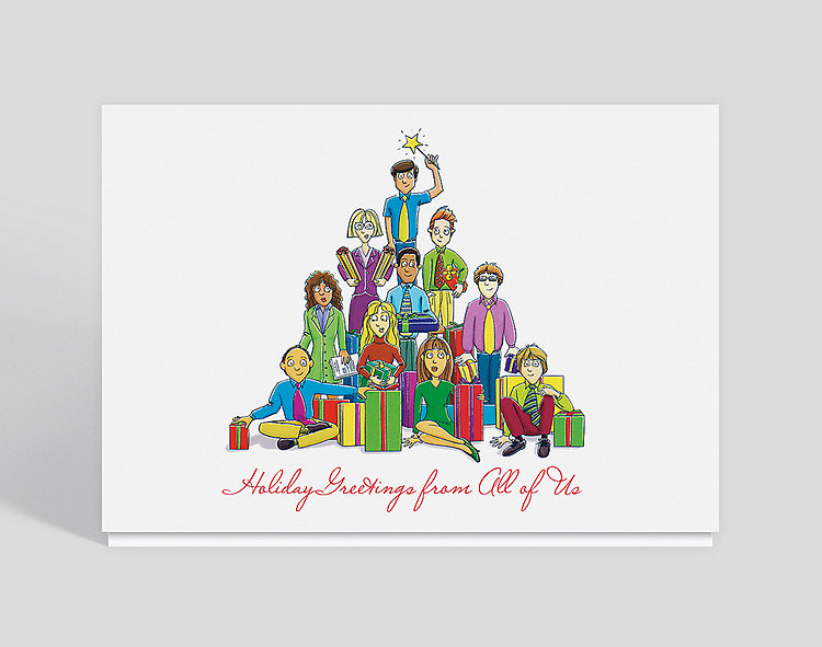 Holiday Greetings From All of Us Card - Holiday Cards