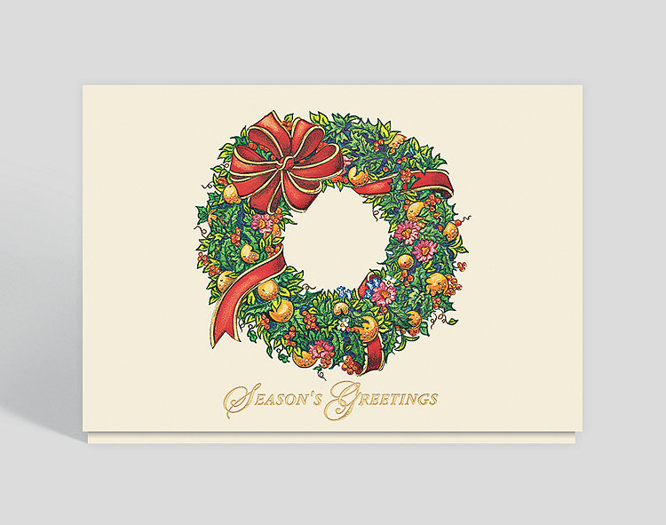 Bountiful Wreath Seasons Greetings Card - Christmas Cards