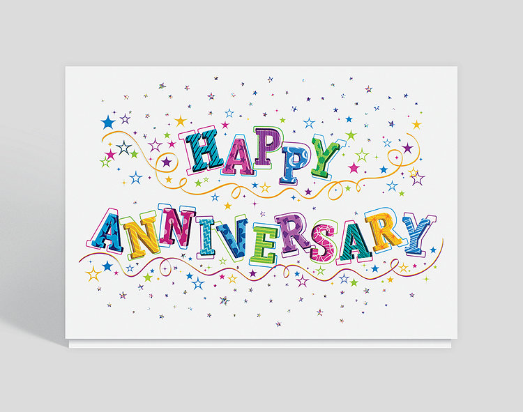 glittering anniversary wishes card 300011  business