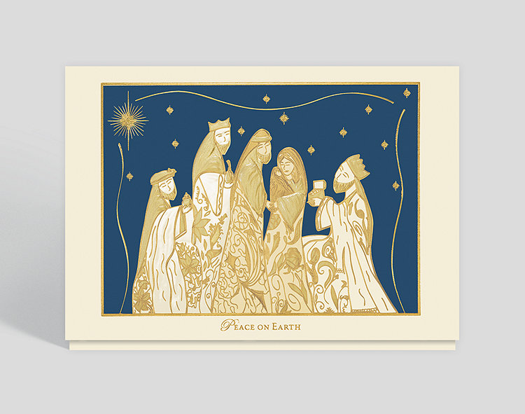 gilded nativity christmas card click to view larger - Nativity Christmas Cards