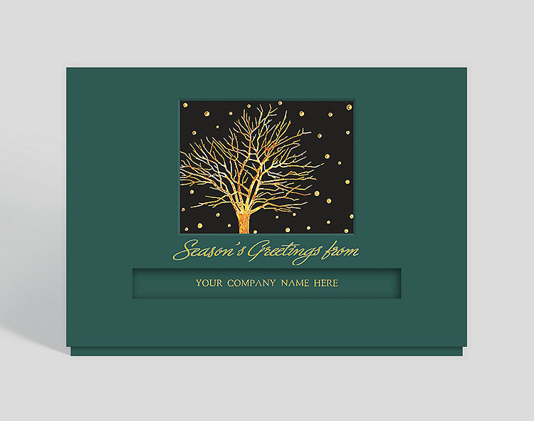 Golden Snowfall Die-Cut Holiday Card - Business Christmas Cards