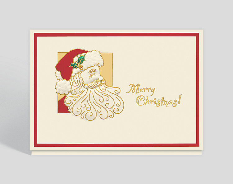 Holiday Santa Merry Christmas Card - Business Christmas Cards