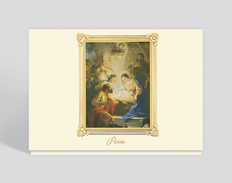 Maella Adoration of the Shepherds Peace Card - Religious Christmas Cards