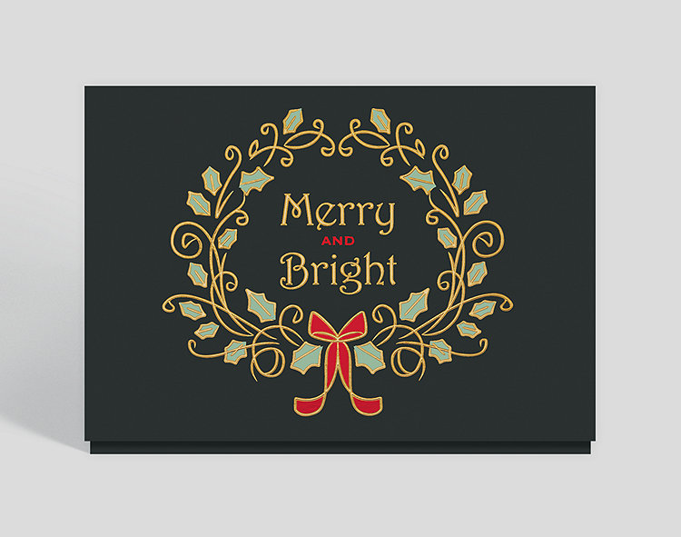 Merry and Bright Wreath Holiday Card - Business Holiday Cards