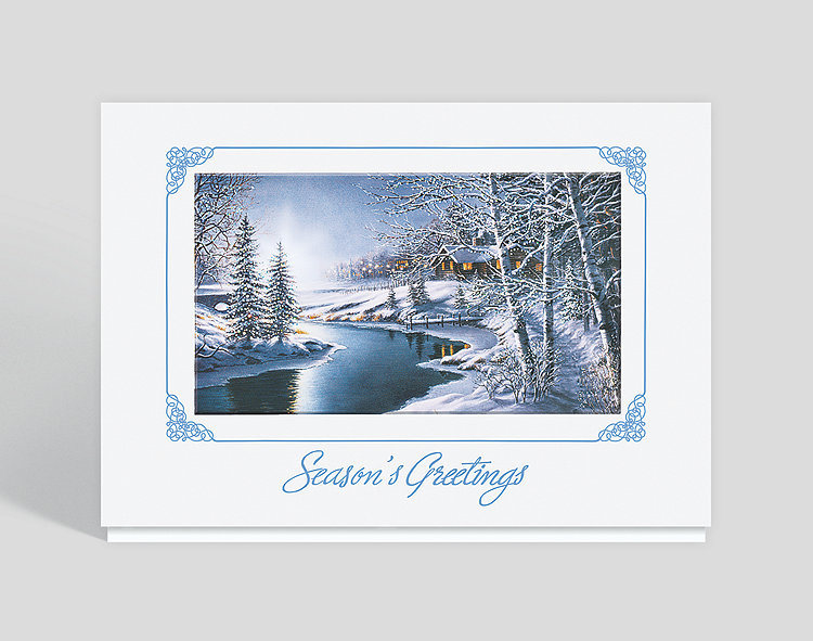 Frosty Night Seasons Greeting Card - Holiday Cards