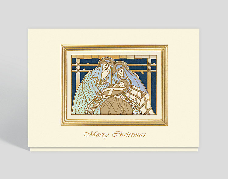 Peaceful Nativity Merry Christmas Card - Religious Christmas Cards