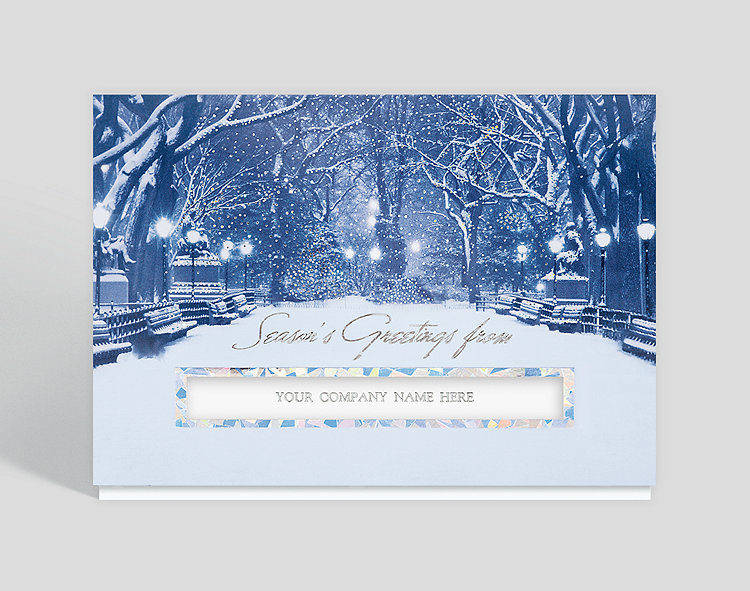 City Snowfall Die-cut Seasons Greeting Card - Wholesale Christmas Cards