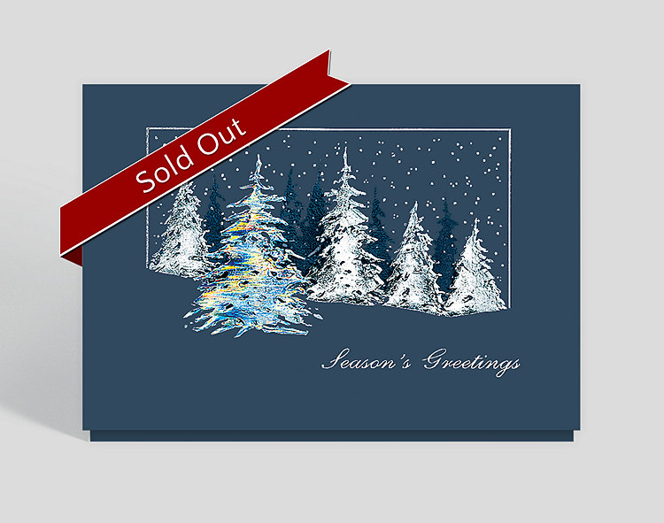 Silver Snowfall Seasons Greeting Card