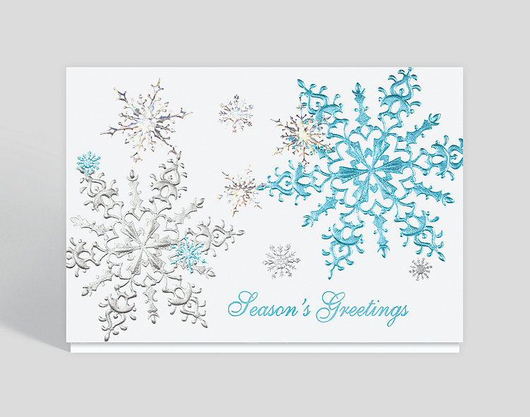 Shimmering Snowflakes Season Greeting Card - Employee Holiday Cards