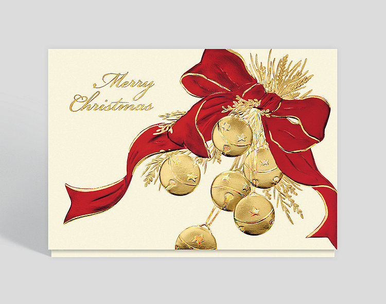 Merry Christmas Sleigh Bells Card - Business Christmas Cards
