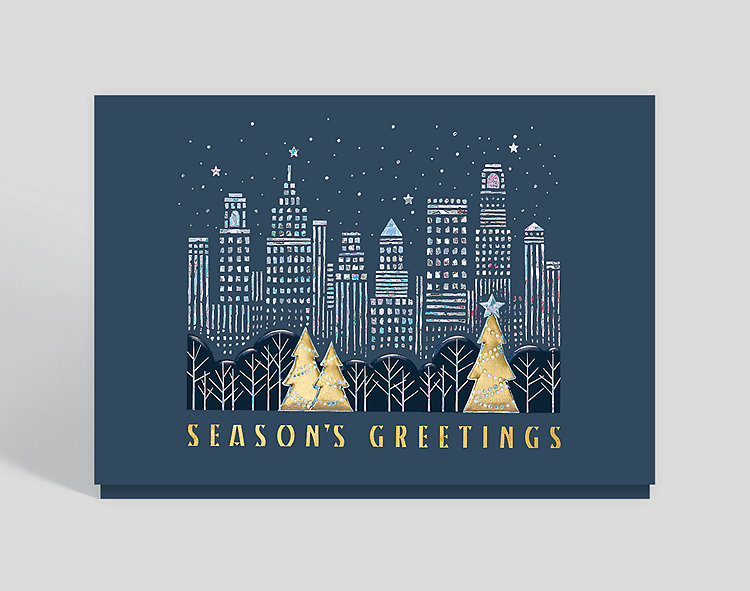 Shimmering Skyline Card - Business Christmas Cards